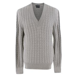 Tom Ford Men's Grey Cable Knit V-Neck Sweater