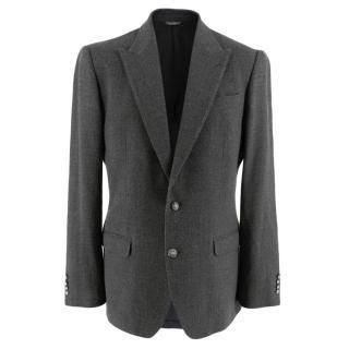 Dolce & Gabbana Grey Wool Sicilia Single Breasted Blazer