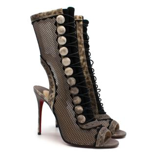 Christian Louboutin Suede & Mesh Lace-Up Sandals with Elaphe Trim