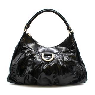 Gucci Black Patent Leather Hobo Shoulder Bag