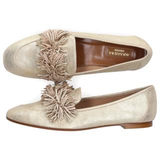 Aquazzura Pale Gold Wild Loafer Flats