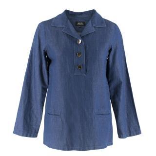 APC Blue Cotton Blend Denim Long-Sleeve Top