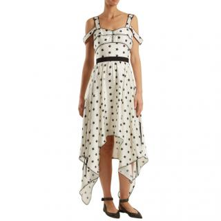 Self Portrait Handkerchief Hem Star Print Satin Dress
