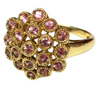 Bespoke Yellow Gold Bubble Ring with Pink Sapphires