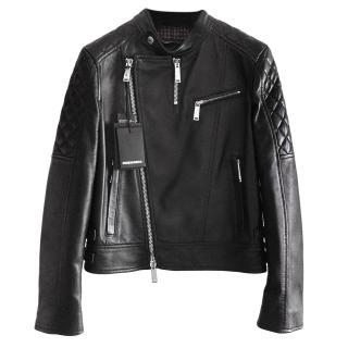 DSquared Black Lambskin Jacket