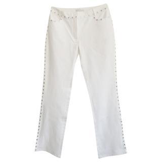 Celine White Studded Straight Leg Jeans