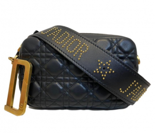 Dior Black Cannage Leather Diorquake Bag with Studded Strap