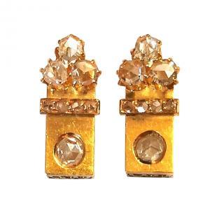 Bespoke Antique Diamond Earrings in Yellow Gold