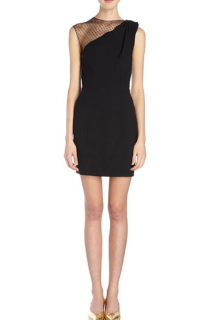 Saint Laurent Crepe One-Shoulder Dotted Tulle Mini Dress