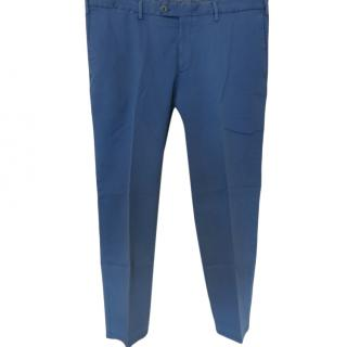 Isaia Blue Men's Cotton Chinos