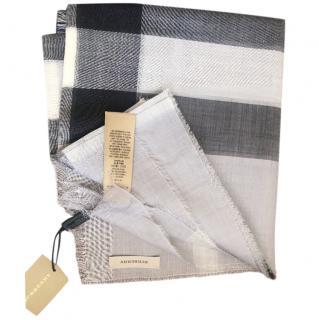 Burberry Grey Check Wool Scarf