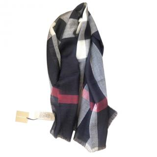Burberry Navy Wool Check Scarf