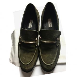 Balenciaga Green Suede Loafers
