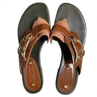 Celine Tan Leather Buckle Detail Flat Sandals