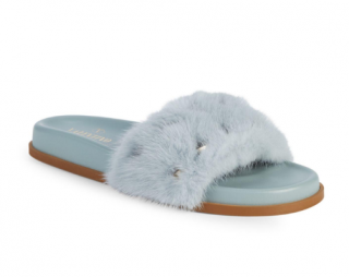 Valentino Pale Blue Studded Mink Fur Slides
