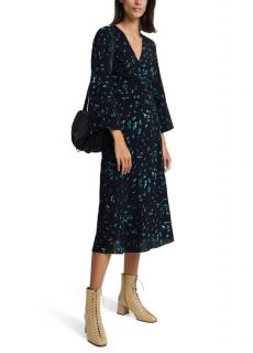Ganni Black Verdant Floral Print Crepe Wrap Dress
