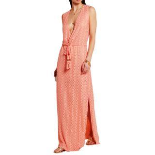 Melissa Odabash peach crocheted maxi dress