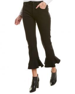 Escada Black Cropped Ruffle Hem Jeans