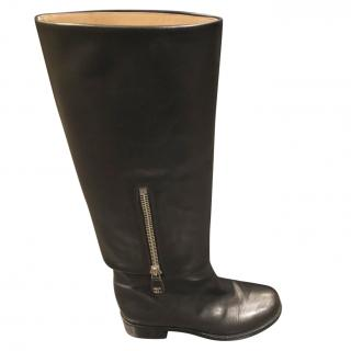 Chanel Black Leather Half Zip Boots