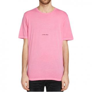 Saint Laurent Archive Logo Pink T-Shirt