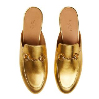 Gucci Metallic Gold Princetown Slippers