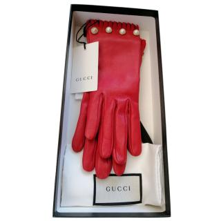 Gucci Red Leather Faux Pearl Studded Gloves