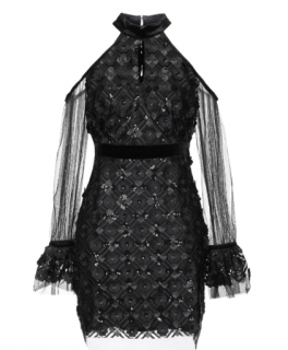 Three Floor Black Tulle & Lace 3D Embroidered Dress