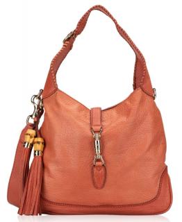Gucci Pebbled Leather Jackie Shoulder Bag in Coral