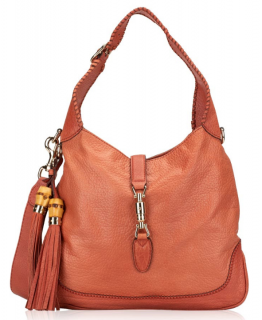 Gucci Pebbled Leather Jackie Shoulder Bag in Coral