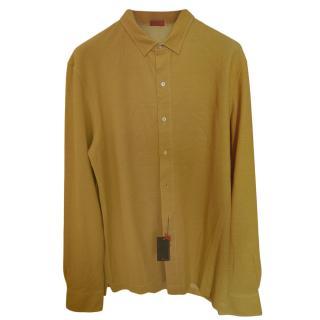 Isaia Yellow Gold Long Sleeve Polo Shirt