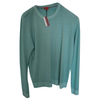 Isaia Wool Green Knit Jumper