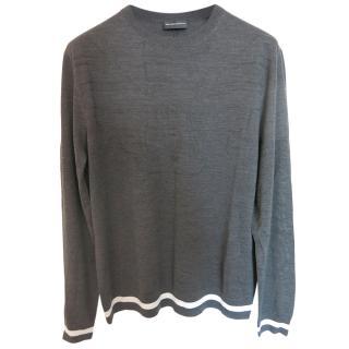 Emporio Armani Grey Wool Blend Sweater