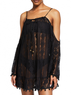 Pily Q Black Cutout Cara Lace Cover-Up