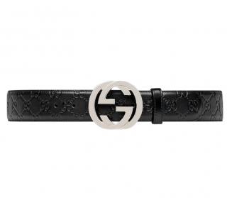 Gucci Black Signature GG Belt - Size 90