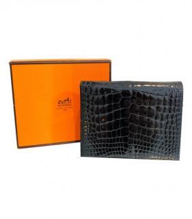 Hermes Shiny Alligator Black MC2 Wallet