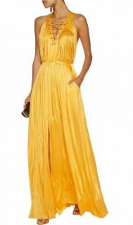 Versace Collection mustard yellow satin gown