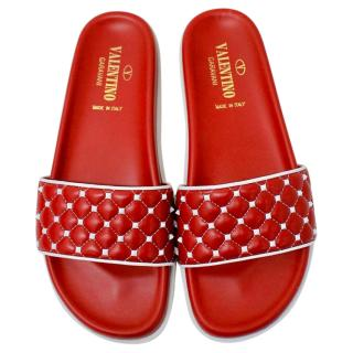 Valentino Red & White Rockstud Slides