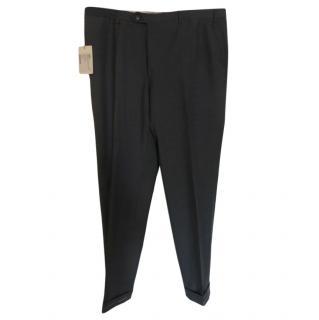 Brioni Grey Fine Wool Tailored Trousers