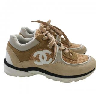 Chanel Tweed, Suede & Leather Camel Sneakers