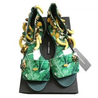 Dolce & Gabbana Banana Leaf Print Banana Embellished Sandals