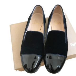 Christian Louboutin black velvet & patent leather flats