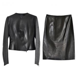Gucci Black Vintage Leather Skirt Suit - Owned by Daphne Guinness