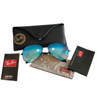 Ray Ban Blue Aviator Mirrored Sunglasses