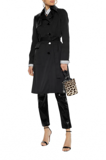 Versace Black Satin & Leather Trench Coat