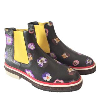 Christopher Kane Floral Print Chelsea Boots