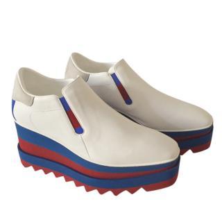 Stella McCartney Striped Platform Wedge Elyse Shoes