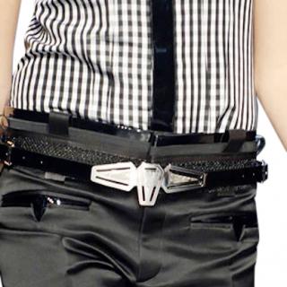 Balenciaga Black Runway Tron Patent belt