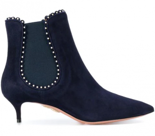 Aquazurra Jicky 45 Faux Pearl Suede Chelsea Boots