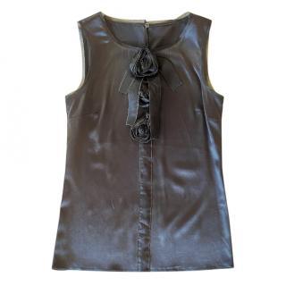 Dolce & Gabbana Black Satin Sleeveless Top