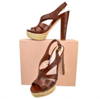Miu Miu Brown Croc Embossed Sandals